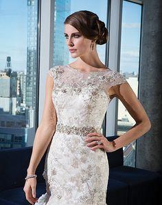 Illusion Sabrina neckline wedding dress