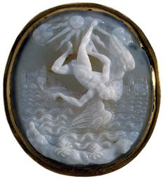 Cameo of the Fall of Icarus. Italy. Late 16th - early 17th century. Agate - onyx, gold. Saint-Petersburg, The State Hermitage Museum.
