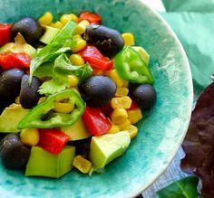 Black olive, corn and avocado salsa