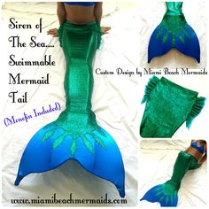 Siren of the Sea Swimmable Mermaid Tail by by Miamibeachmermaids Mermaid Tail Costume, Mermaid Cosplay, Mermaid Tails For Kids, The Little Mermaid, Mermaid Man, Mermaid Cove, Mermaid Beach, Mermaid Swimming, Diy Butterfly Costume