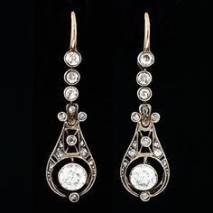 A Brandt and Son - Edwardian Platinum & 14kt Diamond Earrings 2.16ctw