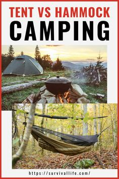 The issue we have to settle: tent or hammock? This article will give you more idea on hammock camping for you to see the difference. #tent #hammockcamping #camping #survivallife Survival Life, Survival Tools, Wilderness Survival, Survival Prepping, Emergency Preparedness, Camping Lunches, Camping Hacks, Outdoor Shelters, Hammock Tent