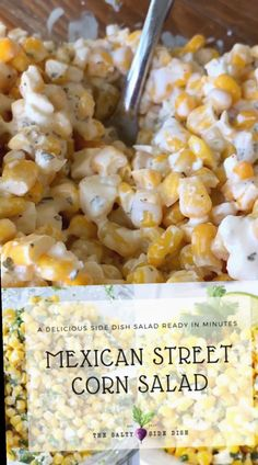 Mexican food recipes 255579347595369074 - Mexican street corn salad side dish Source by SaltySideDish Mexican Corn Side Dish, Hawaiian Side Dishes, Mexican Style Corn, Mexican Corn Dip, Corn Dishes, Taco Side Dishes, Side Dishes With Tacos, Pulled Pork Sides Dishes, Side Dishes For Brisket