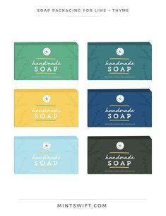 & Website Design for Lime + Thyme - MintSwift Soap Packaging for Lime + Thyme Collateral Design, Brand Identity Design, Branding Design, Logo Design, Soap Packaging, Product Packaging, Packaging Design, Business Branding, Business Card Design