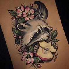 #tattoos #tattoodesign #tattooidea #neotraditional #raccoon