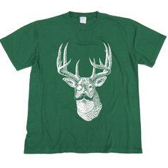 Mustache Monocle Deer Tshirt, Hand screen printed on Dark Green by GreenlakeTee, $15.00