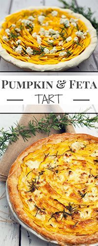 Pumpkin and Feta Tart is a delicious vegetarian dish perfect as a tasty centrepiece for a meatless meal. Puff pastry, pumpkin, feta, eggs, and cream Vegetarian Pie, Vegetarian Recipes Easy, Veggie Recipes, Fall Recipes, Dinner Recipes, Cooking Recipes, Healthy Recipes, Savory Pumpkin Recipes, Rice Recipes