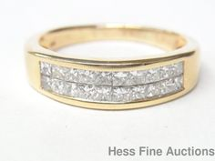 Ultra White Invisible Set 2cttw Diamond 14K Gold Mens Ring Band Size 10.25