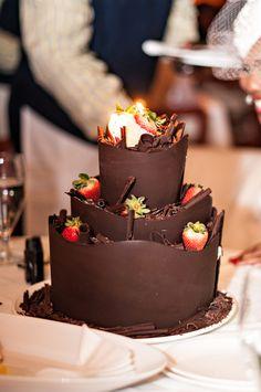 Chocolate and strawberries Wedding cake!  Michelle & Simeon Hall Wedding