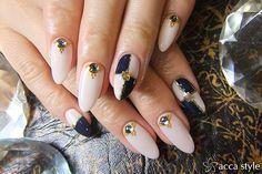 Navy nail stylish ☆
