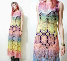 RESERVED+//+CROCHET+Dress+Rainbow+Full+Lace+Long+by+cruxandcrow,+$220.00