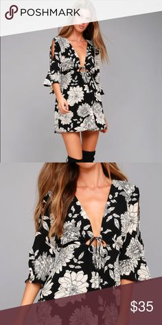 Black and white floral cold shoulder dress Only worn once. No damages Dresses Mini