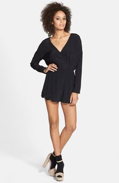 Free shipping and returns on ASTR 'Peekaboo' Lace Detail Romper at Nordstrom.com. Bits of scalloped lace peek from beneath the hem of a silk-blend romper tailored in a draping, dropped-shoulder silhouette and front and back surplice necklines.