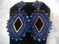 Seed Bead Earrings Indigo and Gold Diamond Goddess by WorkofHeart