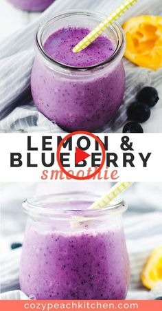 This easy lemon blueberry smoothie is made without bananas and is the perfect recipe for busy mornings. This easy lemon blueberry smoothie is made without bananas and is the perfect recipe for busy mornings. Smoothie Packs, Lemon Smoothie, Smoothie Detox, Fruit Smoothie Recipes, Easy Smoothies, Juice Smoothie, Smoothie Drinks, Smoothie Bowl, Smoothie Without Banana