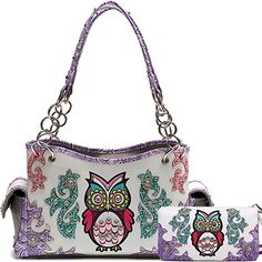 Cowgirl Trendy Western Concealed Carry Colourful Owl Spring Purse Handbag Shoulder Bag Wallet Set Purple