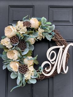 Excited to share this item from my shop: Spring Wreath with Monogram for front door with lotus pods and Lambs Ear, spring wreath for front door, indoor or outdoor use, textured gree Willow Wreath, Grapevine Wreath, Burlap Wreath, Door Monogram, Monogram Wreath, Coastal Farmhouse, Farmhouse Ideas, Wreaths For Front Door, Door Wreaths