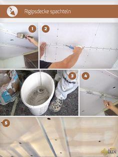 Beim Rigipsdecke spachteln muss so manches beachtet werden. Diese Anleitung zeigt alle notwendigen Schritte, Tipps und Tricks beim Spachteln von Rigipsdecken.