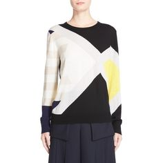 Women's Public School Multicolor Sweater (320 CAD) ❤ liked on Polyvore featuring tops, sweaters, multi, stripe sweater, white sweaters, block sweater, color-block sweater and urban sweaters