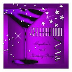 Purple Zebra Glass Celebration Birthday Party Personalized Invitations