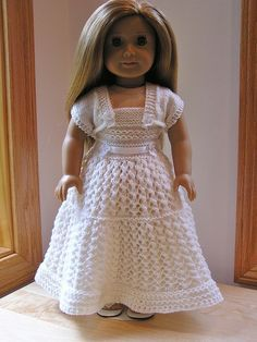 Ravelry: American Girl Knitters 22 Top Down Wedding Dress by Jacqueline Gibb available from ravelry Knitting Dolls Clothes, Ag Doll Clothes, Crochet Doll Clothes, Clothes Crafts, Doll Clothes Patterns, Doll Patterns, Knitting Patterns, American Girl Crochet, American Girls