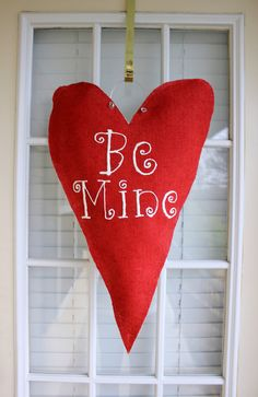 Burlap Valentine Door Hanger by TaylorReese on Etsy, $32.00