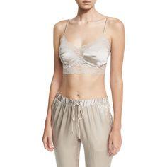Josie Natori Sleek Silk-Blend Crop Camisole ($225) ❤ liked on Polyvore featuring intimates, camis, beige, cropped cami, stretch camisole, lace trim camisole, lace trim cami and josie natori