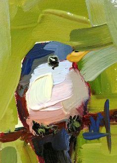 Yellow Billed Cuckoo Original Bird Oil Painting Angela Moulton ACEO Art | eBay