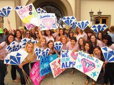 Diamonds are an ADPi's best friend #AlphaDeltaPi #ADPi #BidDay #diamonds #sorority