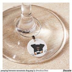 peeping bernese mountain dog.png wine glass charm