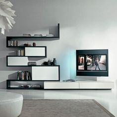 Contemporary TV wall unit / lacquered wood SIDE 9 Fimar Srl