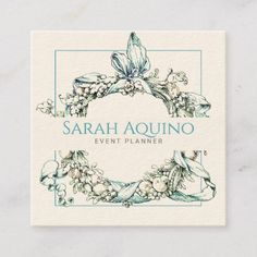 Formal Lush Blue Green Wreath Event Planner Square Business Card Design