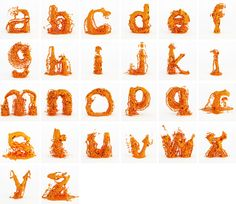 the 'fluid type' typeface by skyrill, each letter can be associated with a splashing, exploding animation