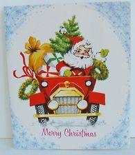 Vintage Christmas Greeting Card Santa Driving Car