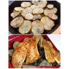 「 Potato and kale casserole and flounder. The casserole was so delicious! Jose said it was the first time he ate kale where he didn't have anything bad to… 」