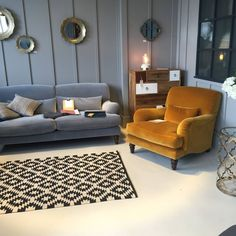 Some lovely pictures from the showroom in Altrincham. The powder grey sofa and mustard chair are part of the Windermere collection. Living Room Accents, Living Room Colors, Living Room Grey, Living Room Sofa, Home Living Room, Living Room Designs, Mustard Chair, Mustard Bedding, Mustard Living Rooms