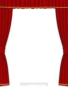 Printable red stage-curtain border. Use the border in Microsoft Word or other programs for creating flyers, invitations, and other printables. Free GIF, JPG, PDF, and PNG downloads at http://pageborders.org/download/curtain-border/