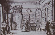 The cabinet of curiosities of the veronese aristocrat Gian Battista Gazola in the late 18th century, displaying the fossils of Bolca.
