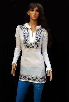 Snow white dress present for her womens tunic top handmade salwar kameez wedding sari loungewear ethnic long sleeved blouse cotton caftan