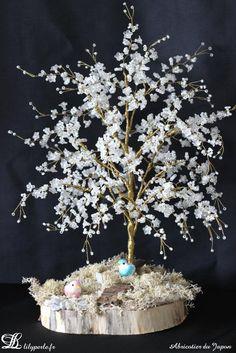 Défi des créateurs septembre 2014 Abricotier du Japon arbre miniature en perles : Accessoires de maison par lilyperle