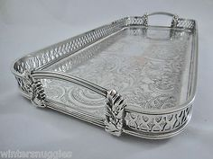 Beautiful Quality Vintage Silver Plated Footed Long Gallery Serving Butler Tray | eBay