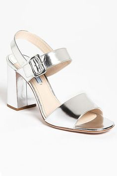 Prada Two Strap Block Heel Sandal Block Sandals, Strap Sandals, Block Heels, Spring Sandals, Spring Shoes, Silver Sandals, Silver Shoes, Prom Shoes, Wedding Shoes