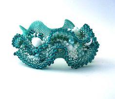 Beaded jewelry Freeform Peyote Beaded Cuff Bracelet with by ibics