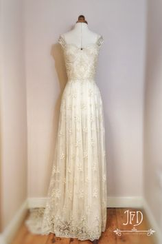 Joanne Fleming Design: Artemis; beaded lace and silk chiffon wedding gown with tamboured feature back