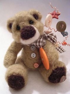 Needle felted bear by claykeepsakes,