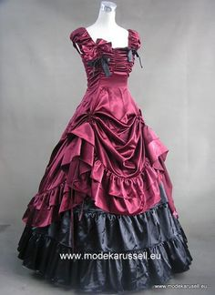 Braut / Abendkleid in Colonial Style 119/19 Weinrot/schwarz