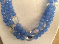 beautiful blue 3 strand opaque glass bead by NeckCandyLove on Etsy