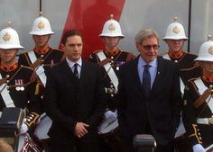 Tom Hardy and Harrison Ford helped launch the Royal Marines Corps of Drums' world record attempt at the Tower of London.