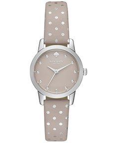 kate spade new york Women's Mini Metro Gray Leather Strap Watch 25mm 1YRU0891 - Watches - Jewelry & Watches - Macy's