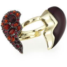 Alexis Bittar Encrusted Broken Heart Rotating Cocktail Ring ($205) ❤ liked on Polyvore featuring jewelry, rings, band rings, golden jewelry, cocktail rings, drusy jewelry and drusy ring
